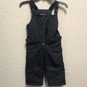Boys black snow bib with zipper and buckle straps